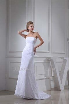 Sheath/Column Sleeveless Square Satin Lace Wedding Dresses 2030407