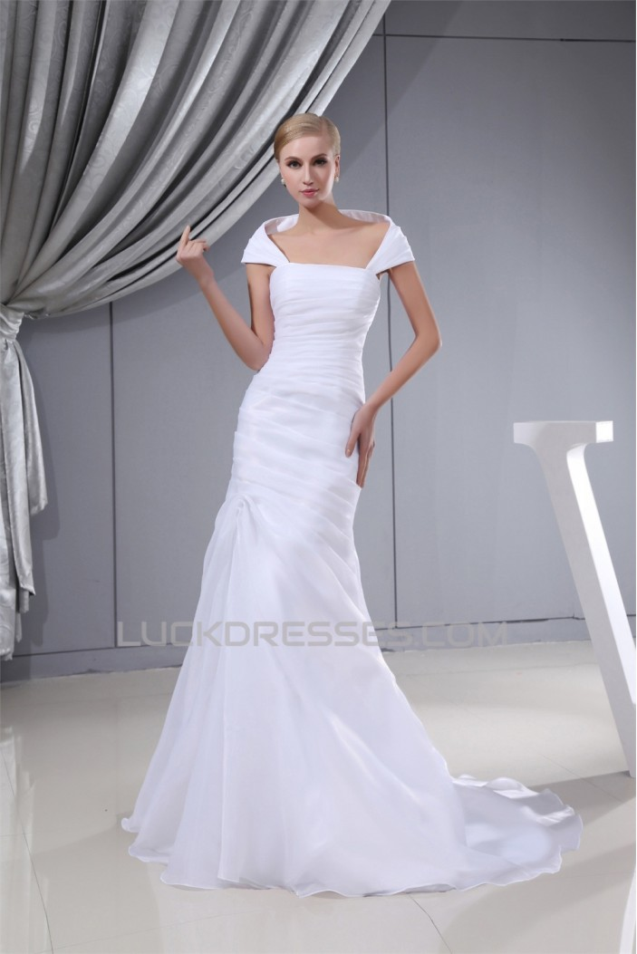 Sleeveless Square Sheath/Column Satin Organza Sweet Wedding Dresses 2030408