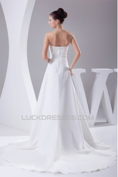 A-Line Sleeveless Strapless Lace Wedding Dresses 2030409