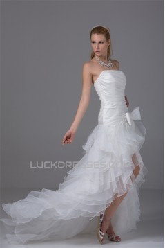 A-Line Satin Organza Taffeta Sleeveless Strapless Wedding Dresses 2030410