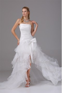 A-Line Satin Organza Taffeta Sleeveless Strapless Wedding Dresses 2030410