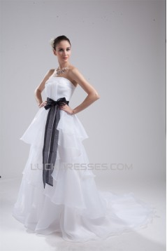 A-Line Satin Organza Sleeveless Strapless Wedding Dresses 2030411