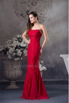 Sleeveless Strapless Mermaid/Trumpet Chiffon Lace Silk like Satin Wedding Dresses 2030413