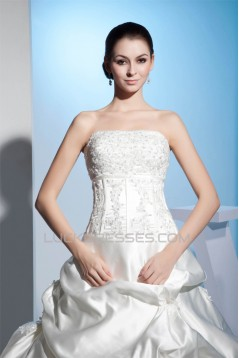 Sleeveless Strapless Satin Lace A-Line New Arrival Wedding Dresses 2030414