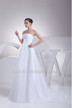 A-Line Strapless Satin Organza New Arrival Wedding Dresses 2030415