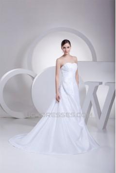 A-Line Strapless Satin Taffeta Lace New Arrival Wedding Dresses 2030416