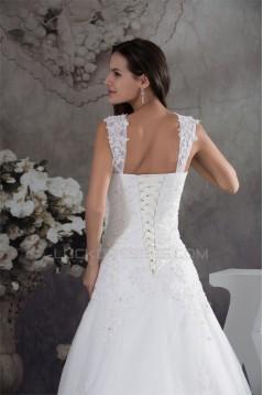 A-Line Sleeveless Straps Satin Fine Netting Wedding Dresses 2030417