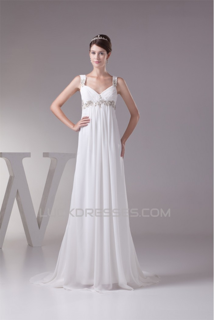 Sleeveless Straps Chiffon Silk like Satin Sweet Wedding Dresses Maternity Wedding Dresses 2030418