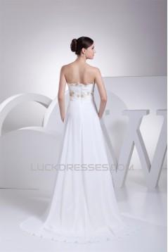 A-Line Sleeveless Sweetheart Chiffon Beaded Lace Wedding Dresses 2030422