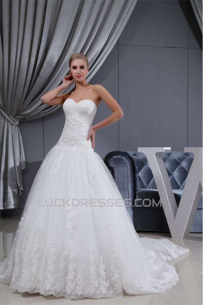 A-Line Sleeveless Sweetheart Satin Lace Fine Netting Wedding Dresses 2030423
