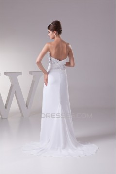 Sheath/Column Sweetheart Chiffon Beaded Wedding Dresses 2030424