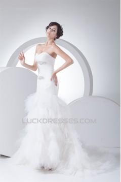 Sleeveless Sweetheart Mermaid/Trumpet Satin Fine Netting Sweet Wedding Dresses 2030425