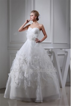 Sleeveless Sweetheart Satin Organza A-Line Sweet Wedding Dresses 2030427