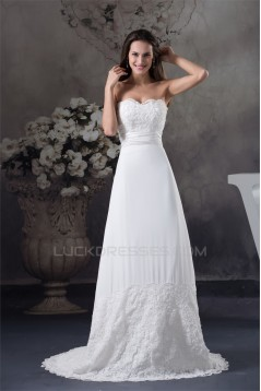 Sheath/Column Sleeveless Sweetheart Chiffon Lace Silk like Satin Best Wedding Dresses 2030429