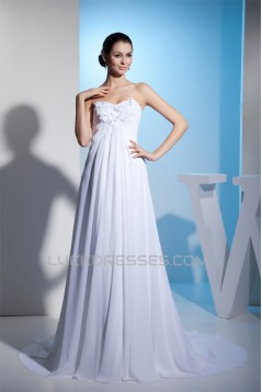 Sheath/Column Sleeveless Sweetheart Chiffon Satin Lace Wedding Dresses 2030430