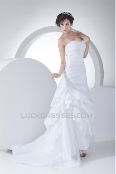 Sleeveless Sweetheart Taffeta Netting A-Line Best Wedding Dresses 2030432
