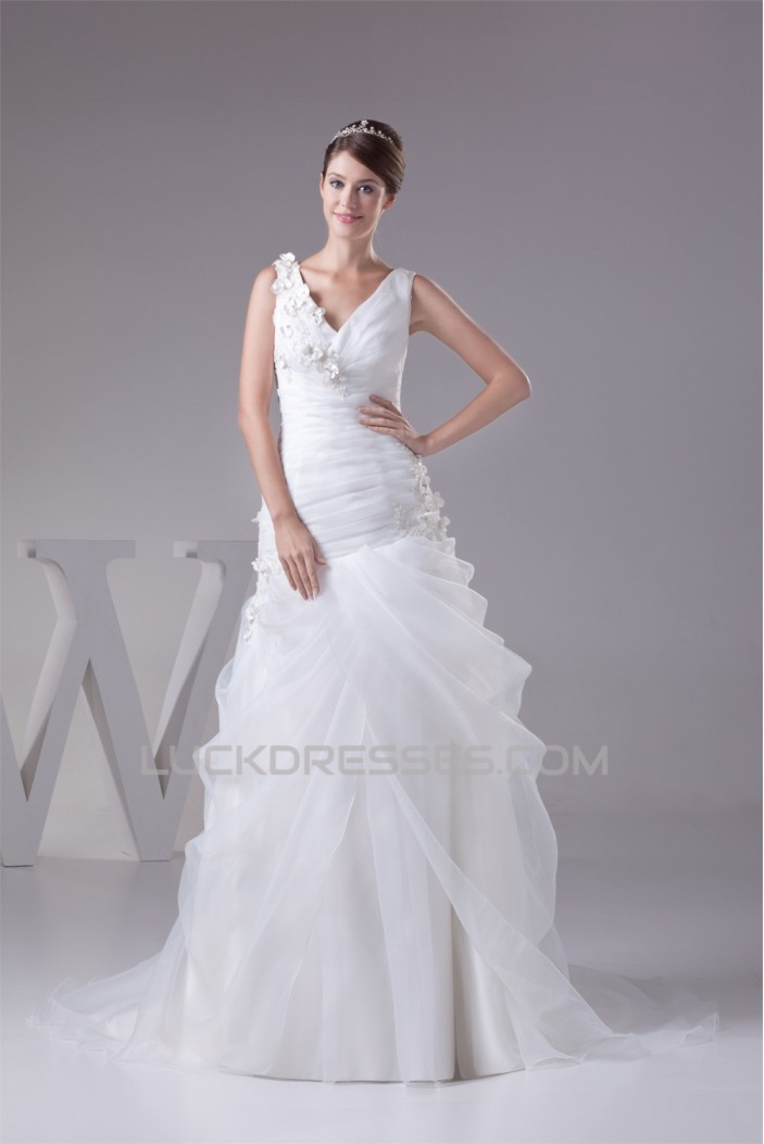 Sleeveless V-Neck Satin Lace Organza Princess New Arrival Wedding Dresses 2030433