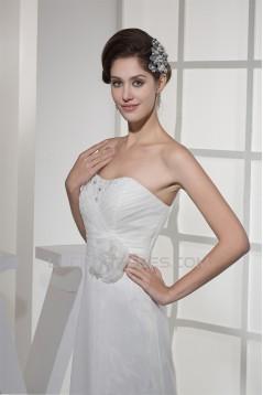 Soft Sweetheart A-Line Satin Organza Sleeveless New Arrival Wedding Dresses 2030434