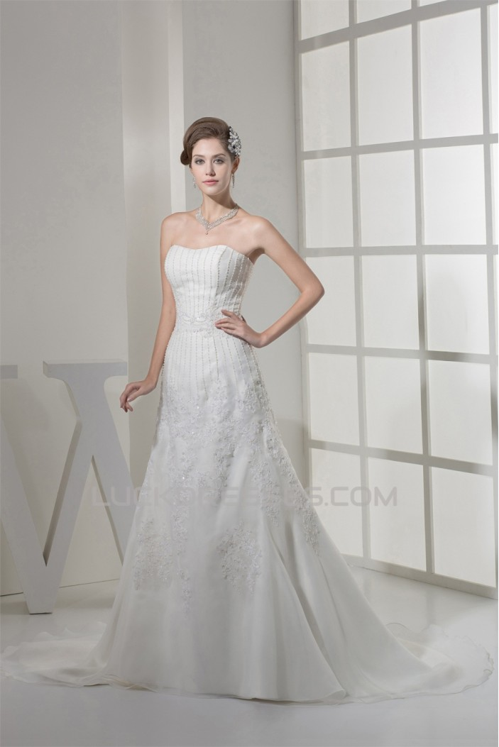A-Line Beaded Lace Soft Sweetheart Wedding Dresses 2030436