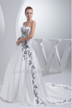 A-Line Soft Sweetheart Sleeveless Satin Wedding Dresses with Color 2030437
