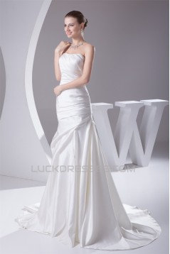 A-Line Soft Sweetheart Sleeveless Satin Most Beautiful Wedding Dresses 2030439