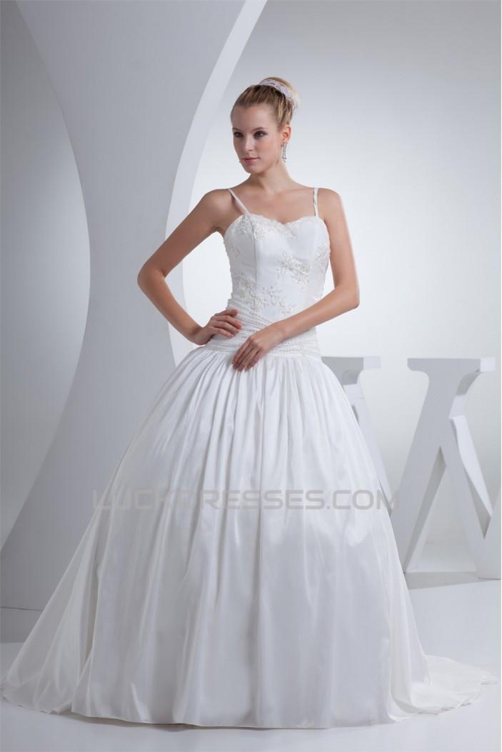Ball Gown Spaghetti Straps Taffeta Sleeveless Beaded Best Wedding Dresses 2030441