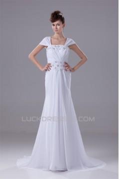 Sheath/Column Capped Sleeves Chiffon Silk like Satin Beaded Lace Wedding Dresses 2030442