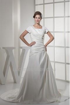 Square Satin Short Sleeve A-Line Wedding Dresses 2030443