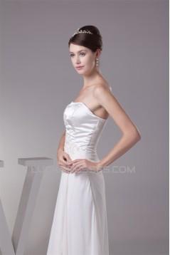 A-Line Strapless Chiffon Silk like Satin New Arrival Wedding Dresses 2030444