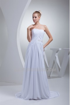 A-Line Strapless Sleeveless Chiffon Silk like Satin Sweet Wedding Dresses 2030445