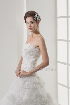 Strapless A-Line Sleeveless Satin Lace Netting Most Beautiful Wedding Dresses 2030446