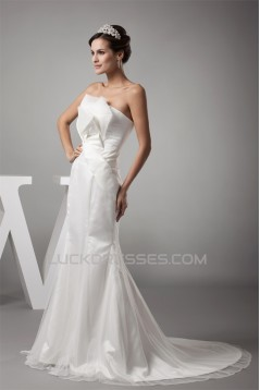 Strapless Mermaid/Trumpet Satin Fine Netting Sweet Wedding Dresses 2030447