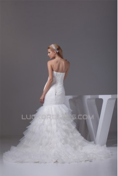 Strapless Mermaid/Trumpet Sleeveless Satin Organza Wedding Dresses 2030448