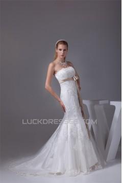 Mermaid/Trumpet Strapless Satin Fine Netting Lace Wedding Dresses 2030450