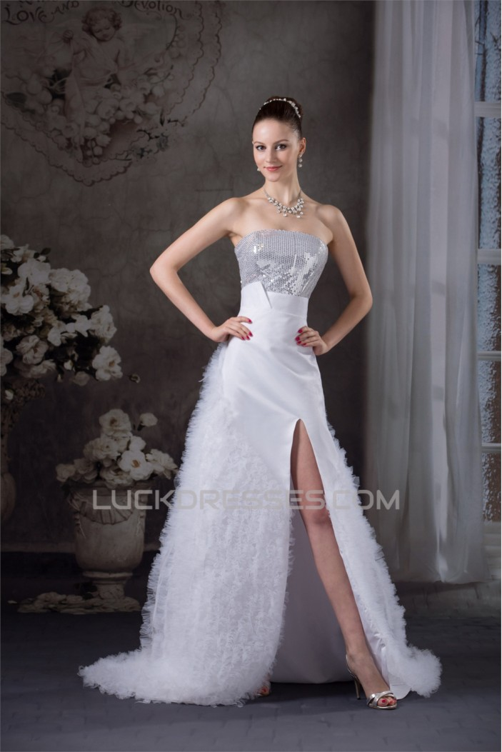 Strapless Satin Lace Organza Fine Netting Sequins Most Beautiful Wedding Dresses 2030451