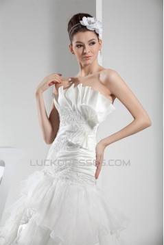 Strapless Satin Lace Organza Wedding Dresses 2030452
