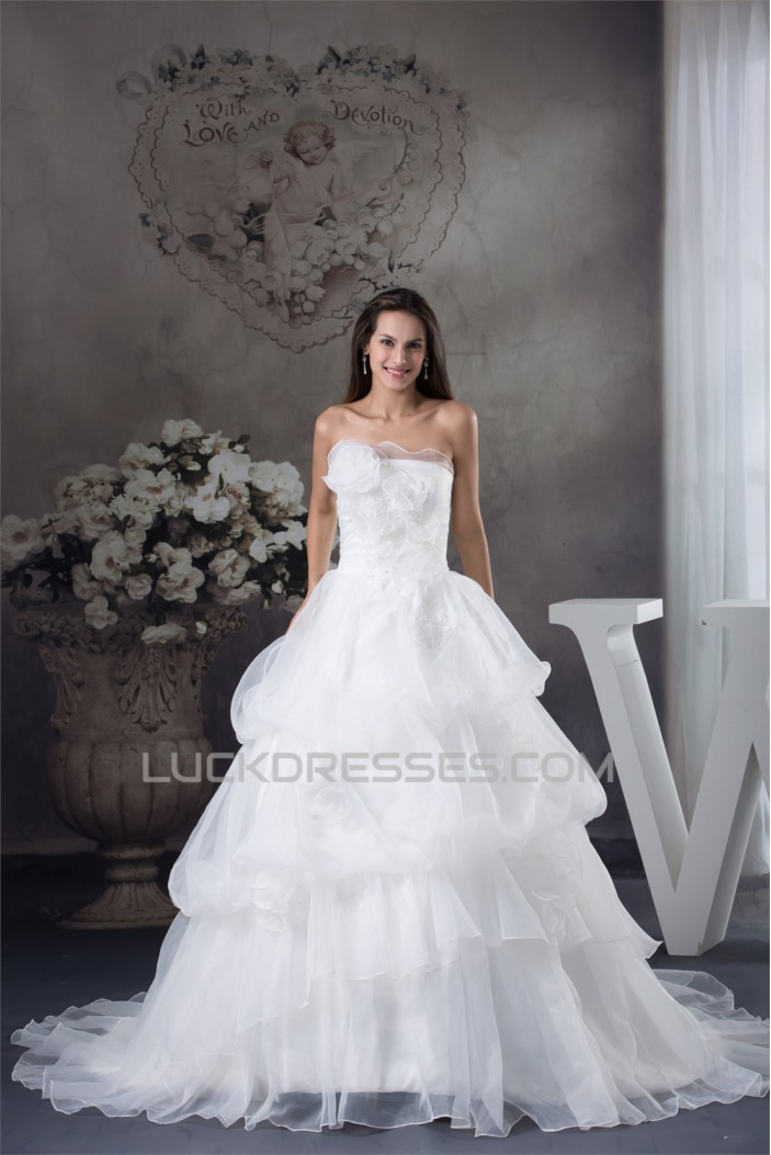 A-Line Strapless Satin Lace Organza Sleeveless Wedding Dresses 2030453