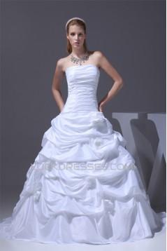 Strapless Satin Taffeta A-Line Sleeveless Best Wedding Dresses 2030455