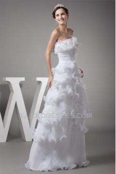 Strapless Sheath/Column Satin Organza Sleeveless New Arrival Wedding Dresses 2030456
