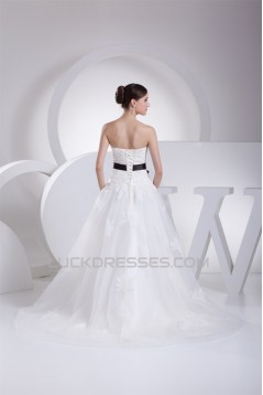 A-Line Strapless Satin Silk like Satin Lace Wedding Dresses 2030457