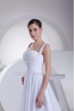 A-Line Straps Chiffon Satin Sleeveless Wedding Dresses 2030462