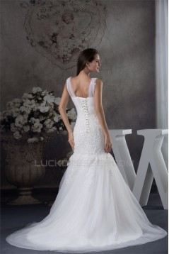Straps Satin Lace Fine Netting Mermaid/Trumpet Sweet Wedding Dresses 2030463