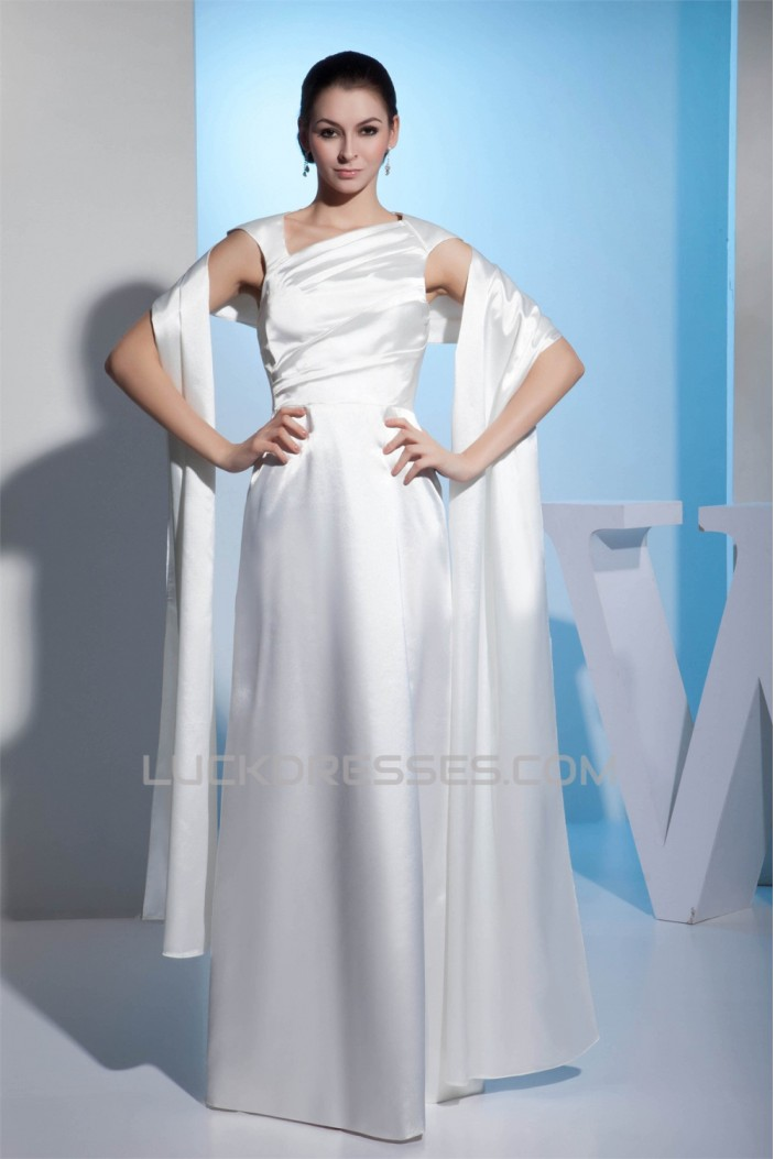 Straps Silk like Satin Sheath/Column Reception Wedding Dresses 2030464