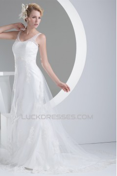 Straps Sleeveless Satin Lace Fine Netting Wedding Dresses 2030465
