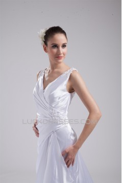 Straps Sleeveless Silk like Satin Sheath/Column Wedding Dresses 2030467