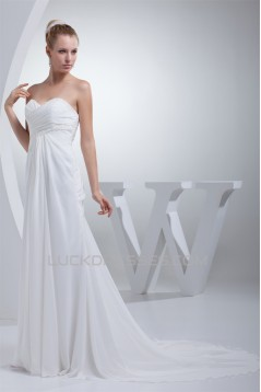 Sweetheart A-Line Chiffon Silk like Satin Best Wedding Dresses 2030468