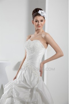 Sweetheart A-Line Lace Taffeta Sleeveless Best Wedding Dresses 2030469