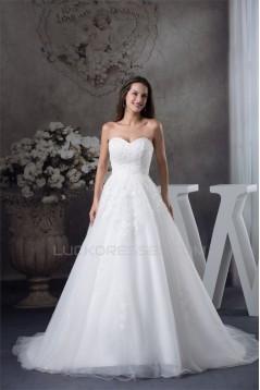 A-Line Sweetheart Sleeveless Satin Fine Netting Lace Wedding Dresses 2030471
