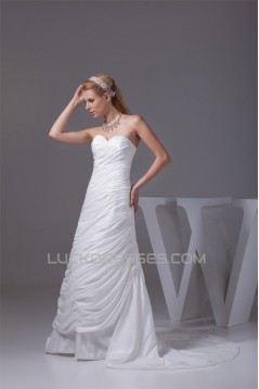 Sweetheart A-Line Sleeveless Taffeta New Arrival Wedding Dresses 2030473