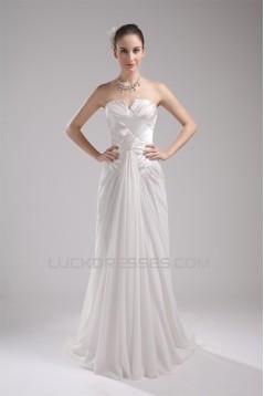 Sweetheart Chiffon Elastic Woven Satin Sleeveless Wedding Dresses 2030475
